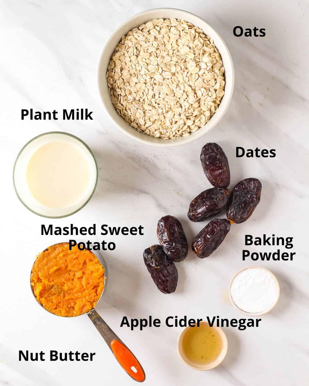 Ingredients needed to make vegan sweet potato muffins.