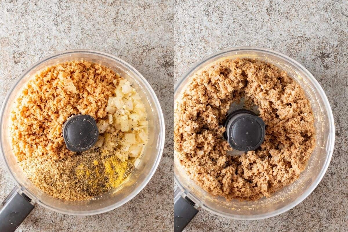 Pulsing all ingredients together in a food processor.