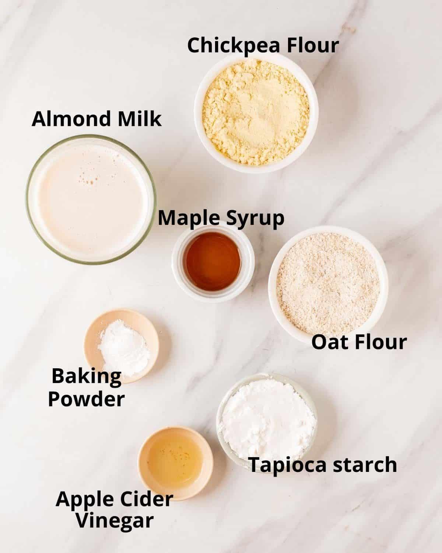 Ingredients needed to make vegan crepes.