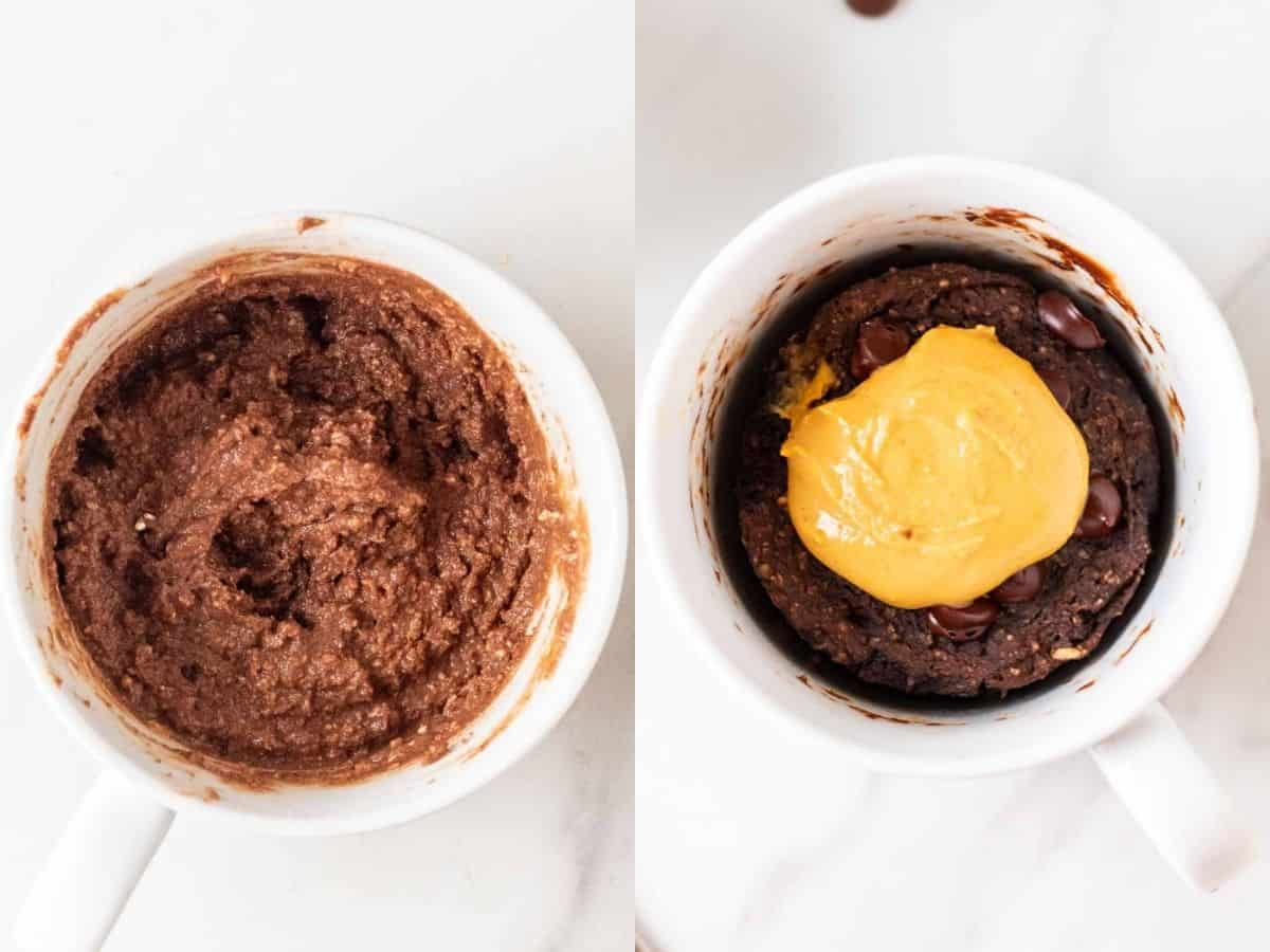 A collage of before and after cooking mug cake.