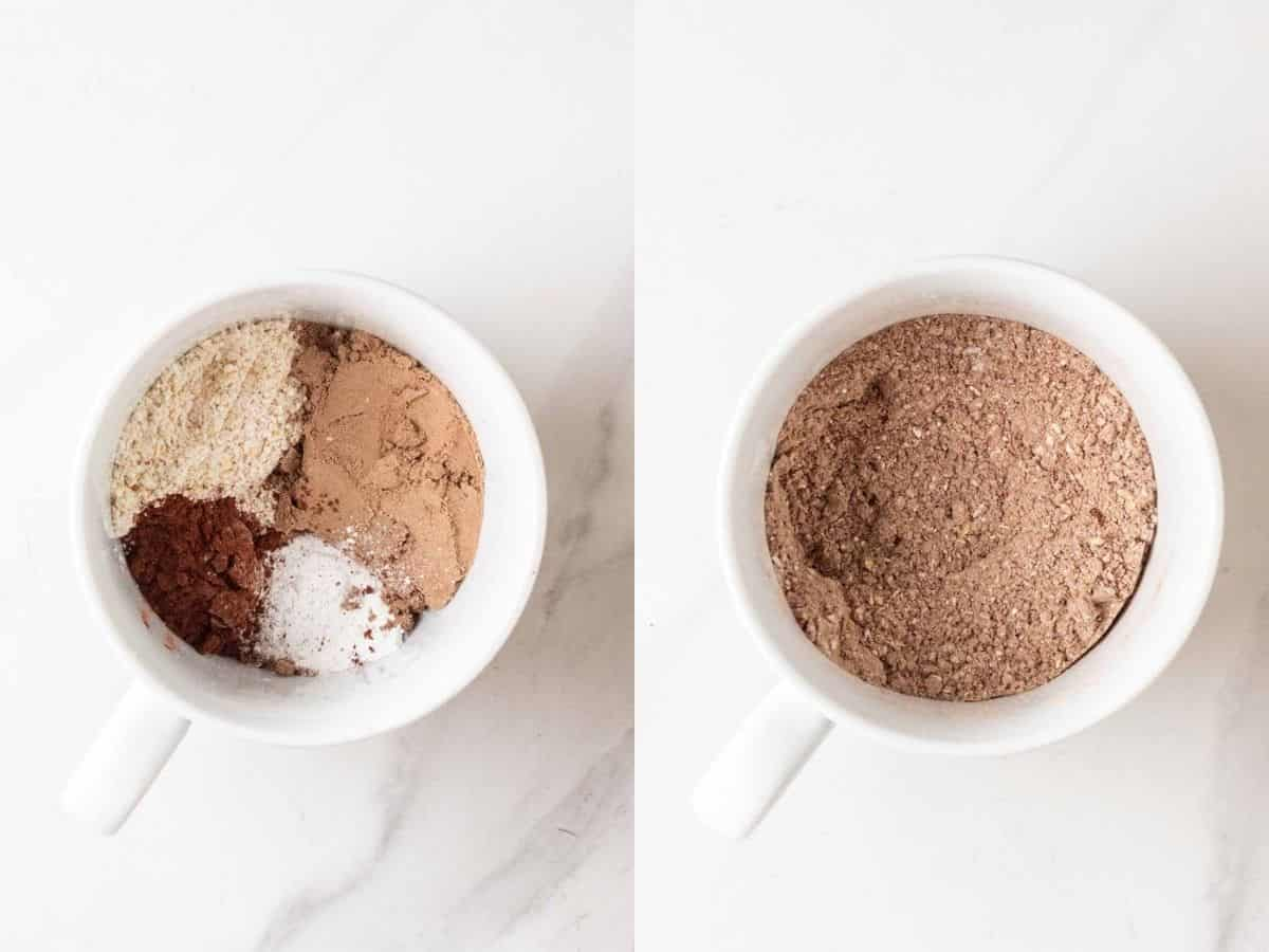 Mixing dry ingredients in a mug.