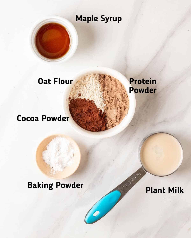 Ingredients needed to make vegan protein mug cake.