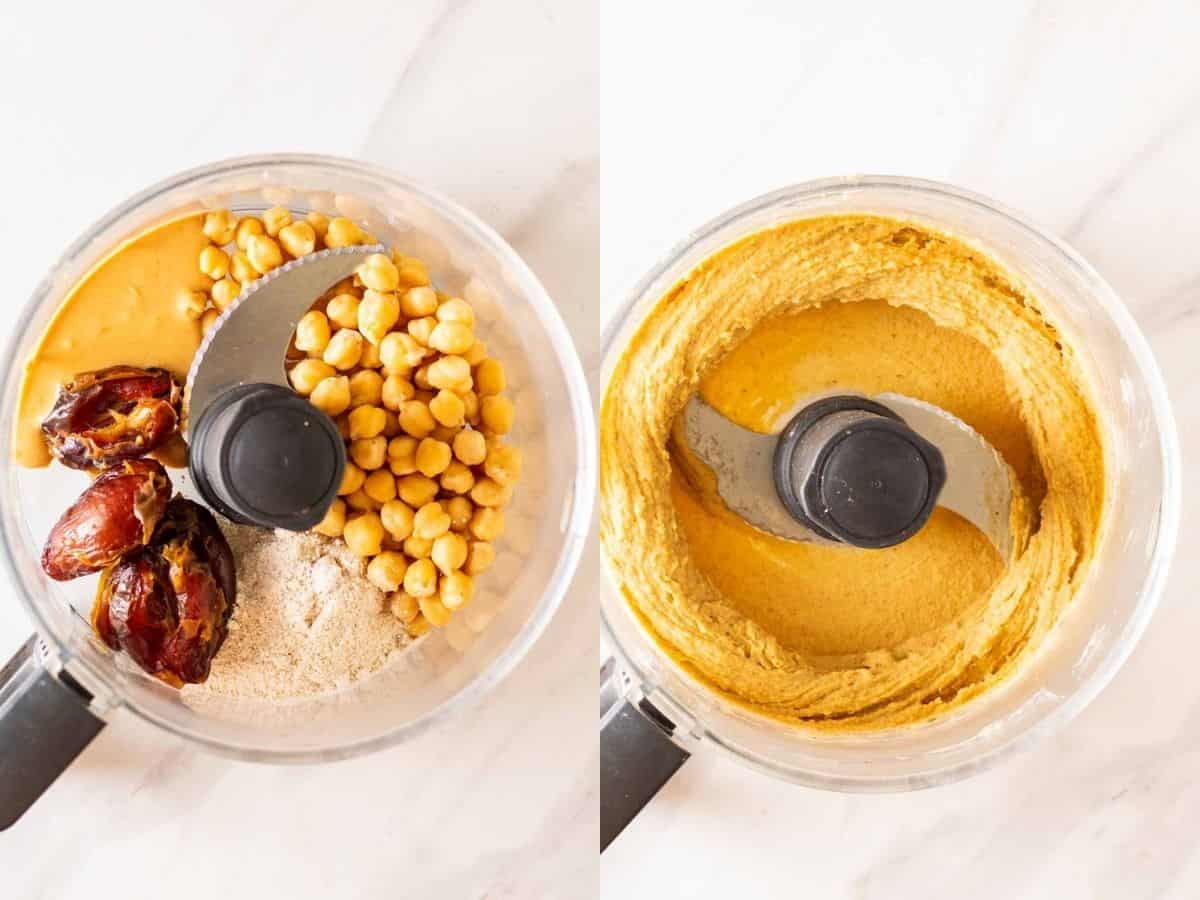A collage of before and after blending ingredients in a food processor.