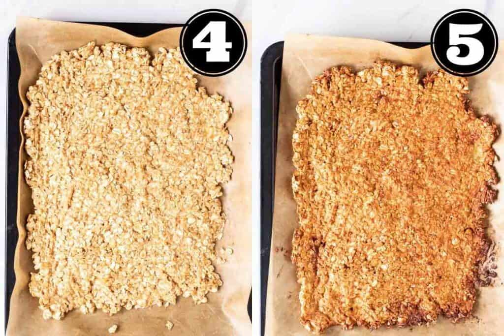 Before and after baking granola in a lined baking tray.