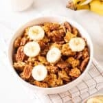 A close up shot of protein granola in a bowl.