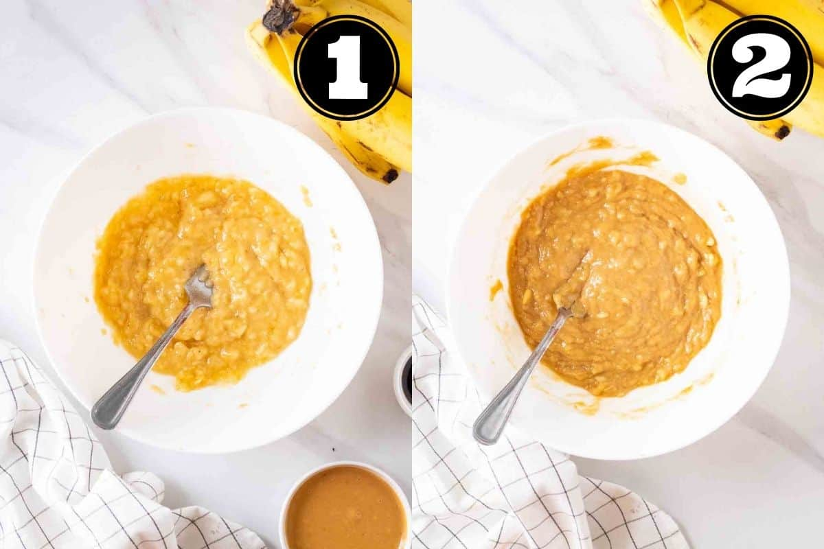Collage of mashed banana and wet ingredients in a bowl with fork.