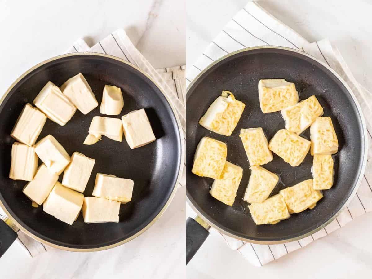 A collage of pan-frying tofu chucks.