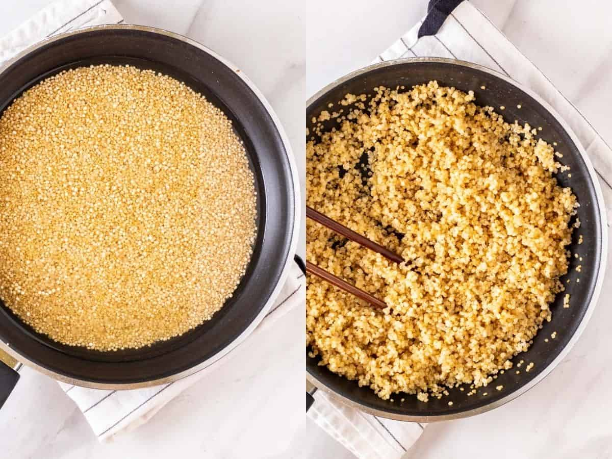 Cooking quinoa in a pan.