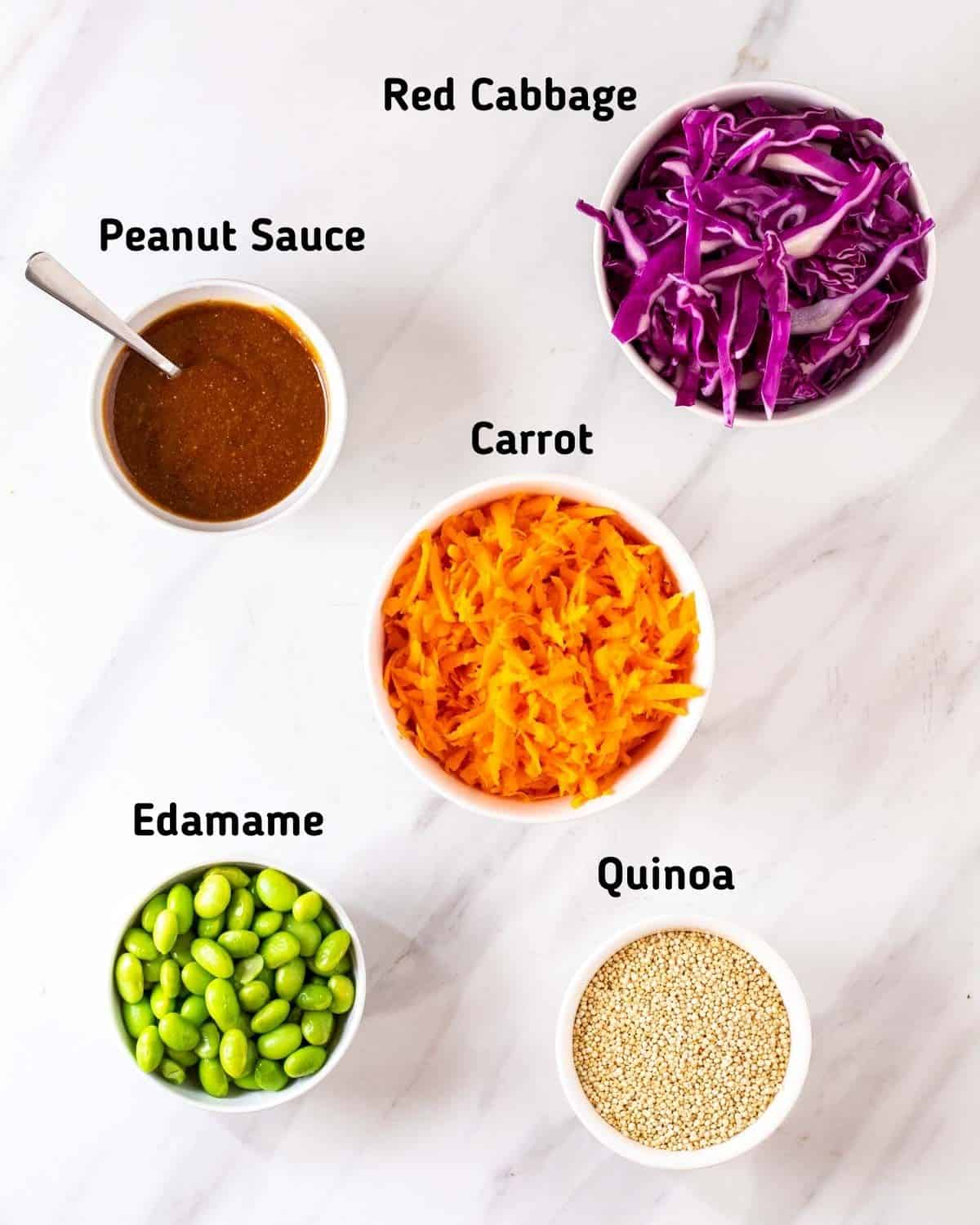 Ingredients needed for thai quinoa salad.