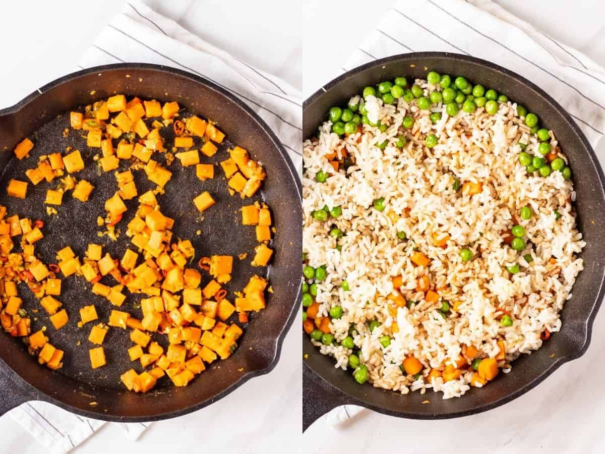 A collage of adding carrot to the pan, then the rest of the ingredients.