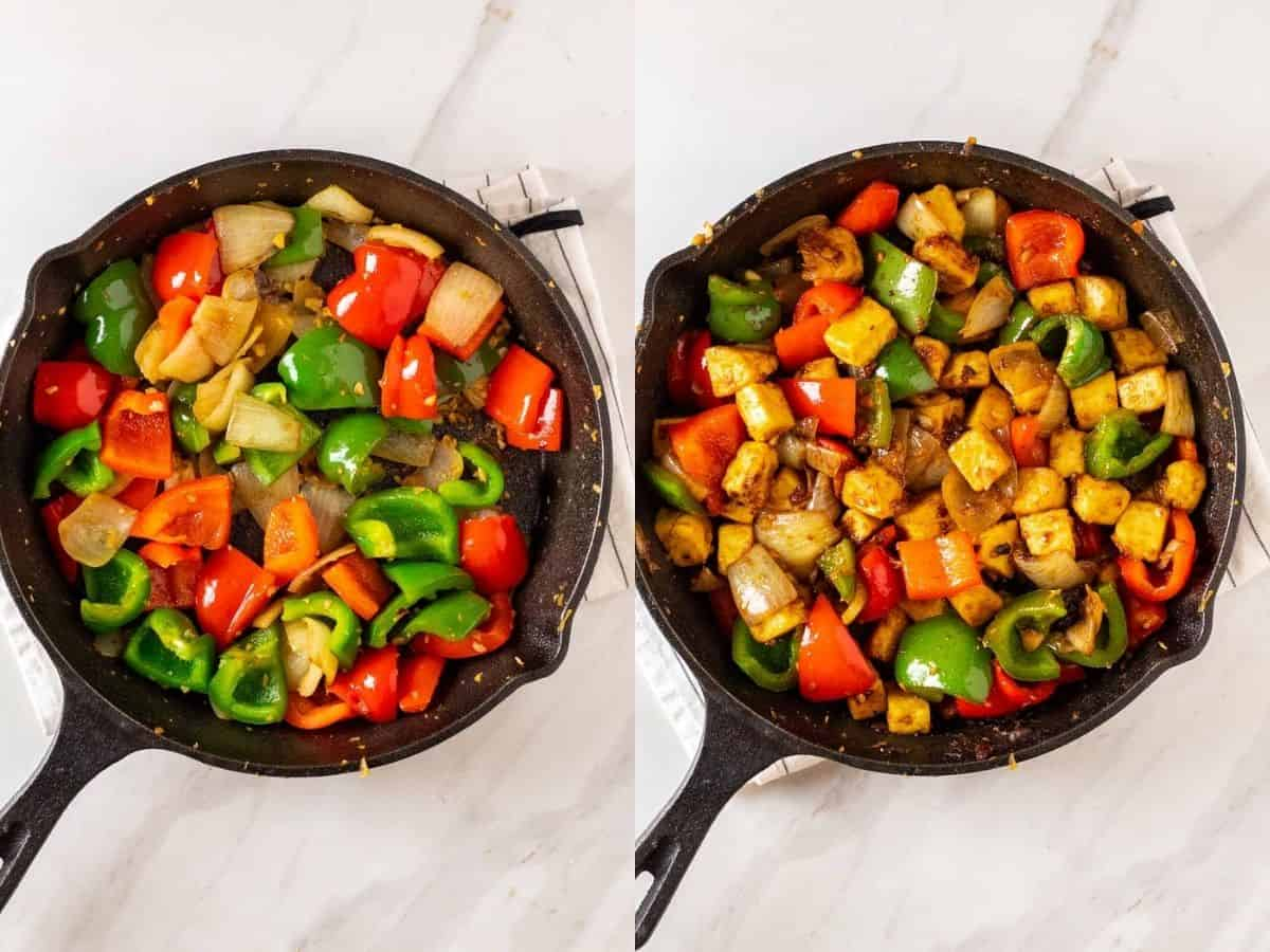 A collage of stirring in bell peppers, then adding in tofu and seasonings.
