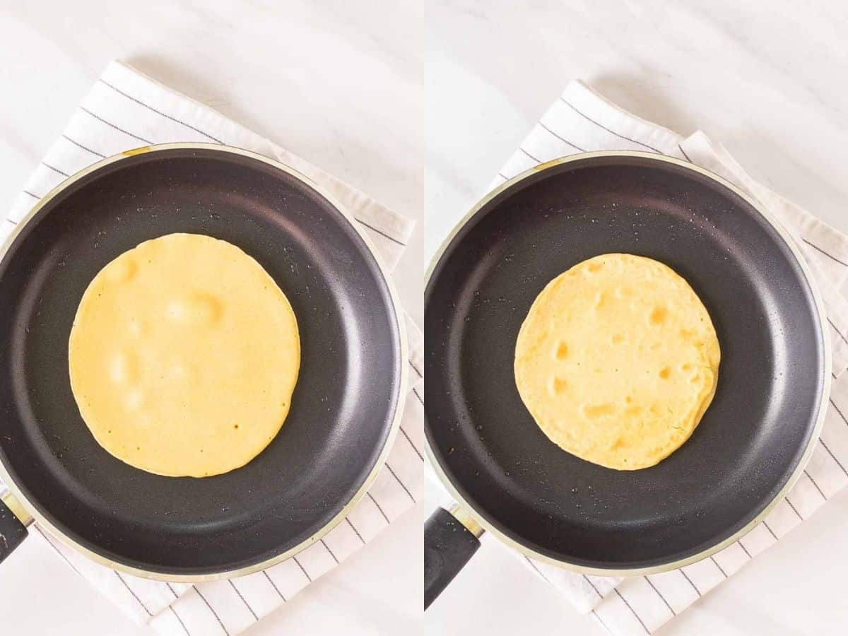 A collage of cooking tortilla in a black pan.