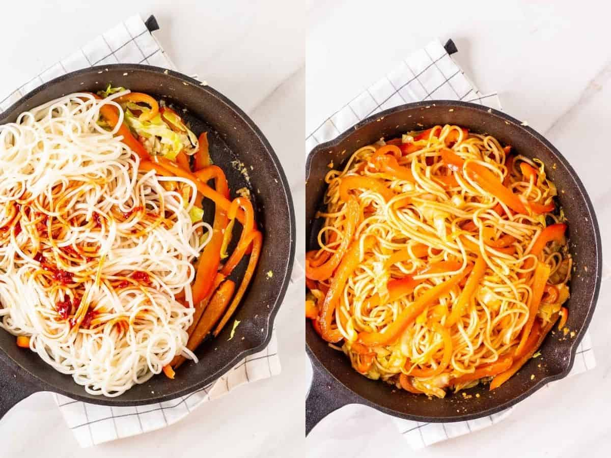 A collage of 2 image before and after stirring in sauce into the noodles.