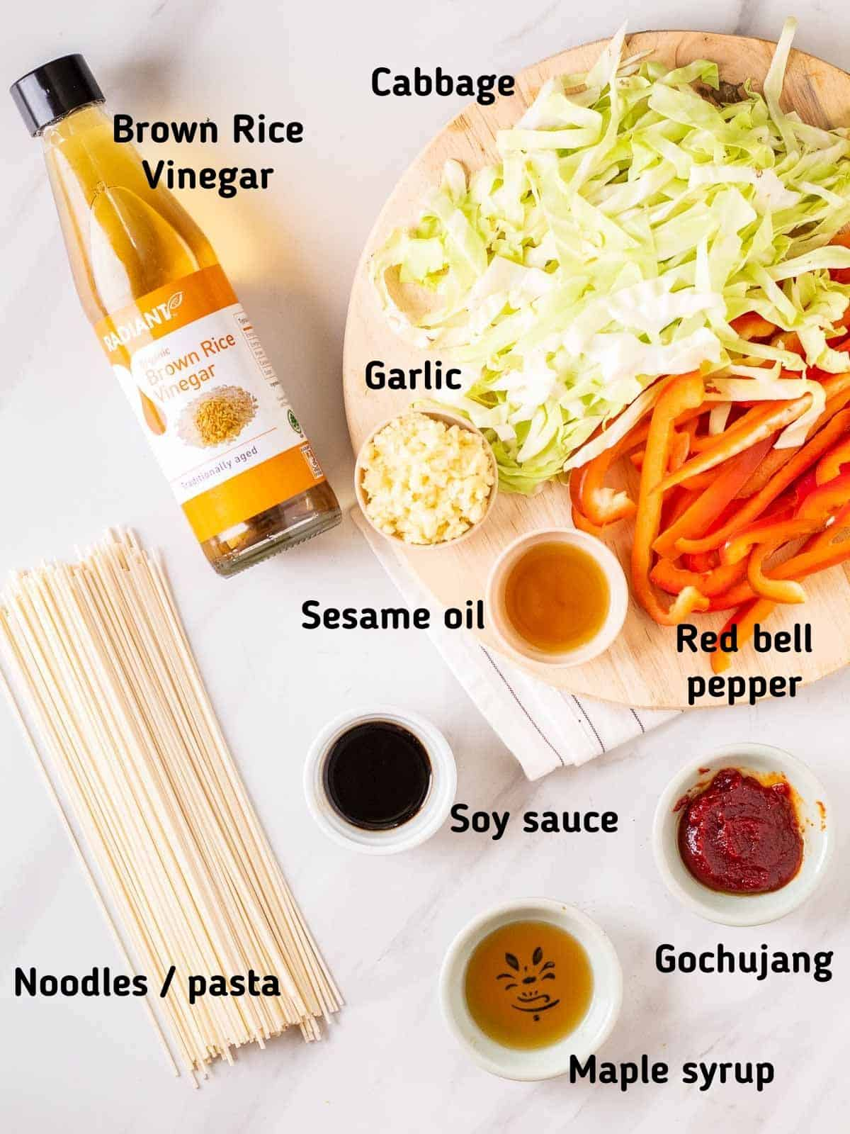 Ingredients needed to make gochujang noodles.