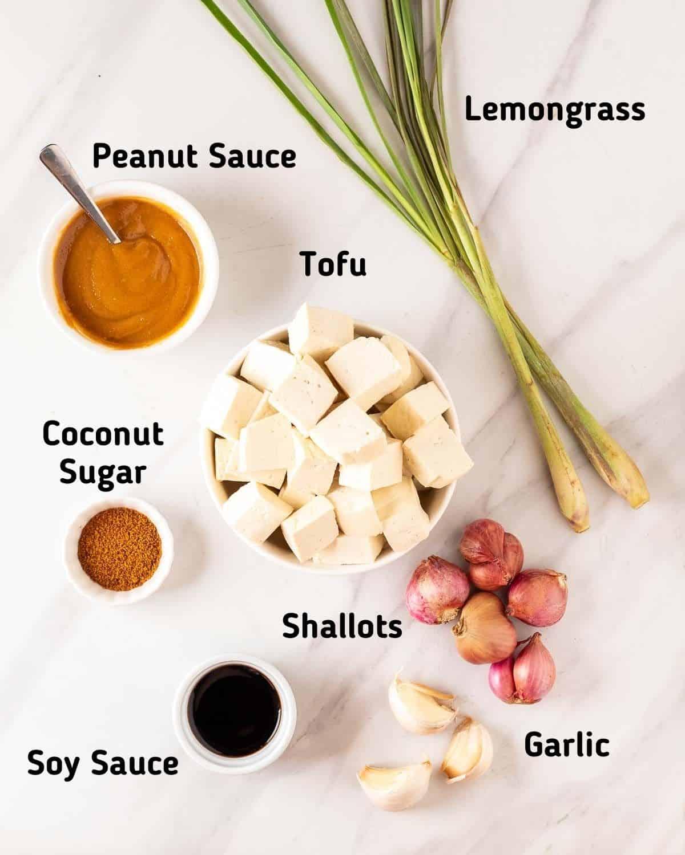 Ingredients needed to make tofu satay.