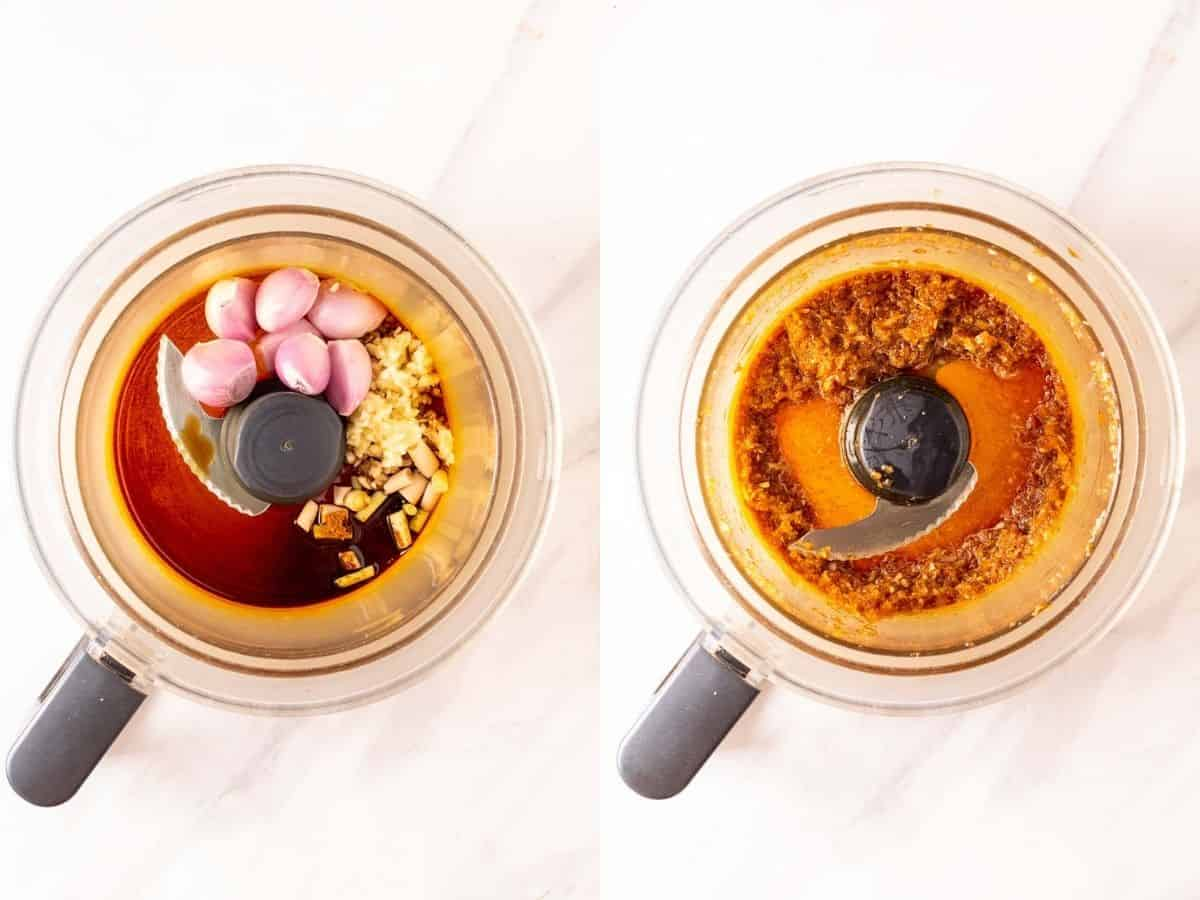 A collage of before and after blending aromatics in a food processor.