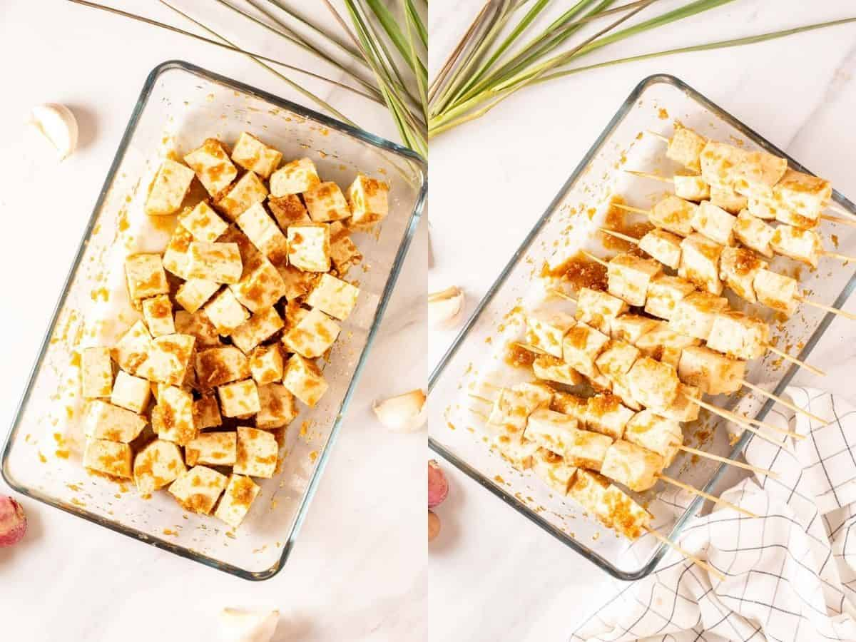 A collage of marinating tofu in a glass dish and skewering them onto satay sticks.