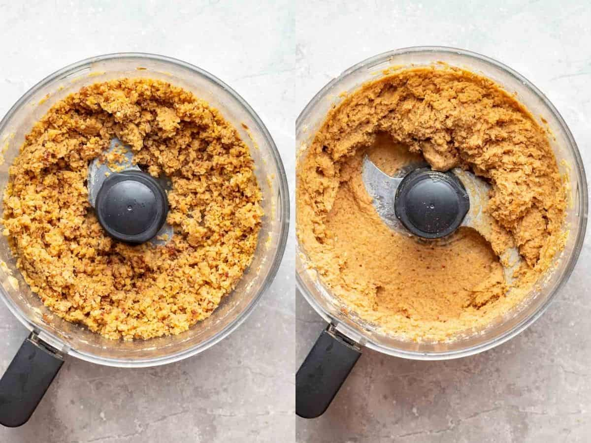 A 2 picture collage of pulsing dates and chickpeas , then adding all ingredients and blend until smooth.