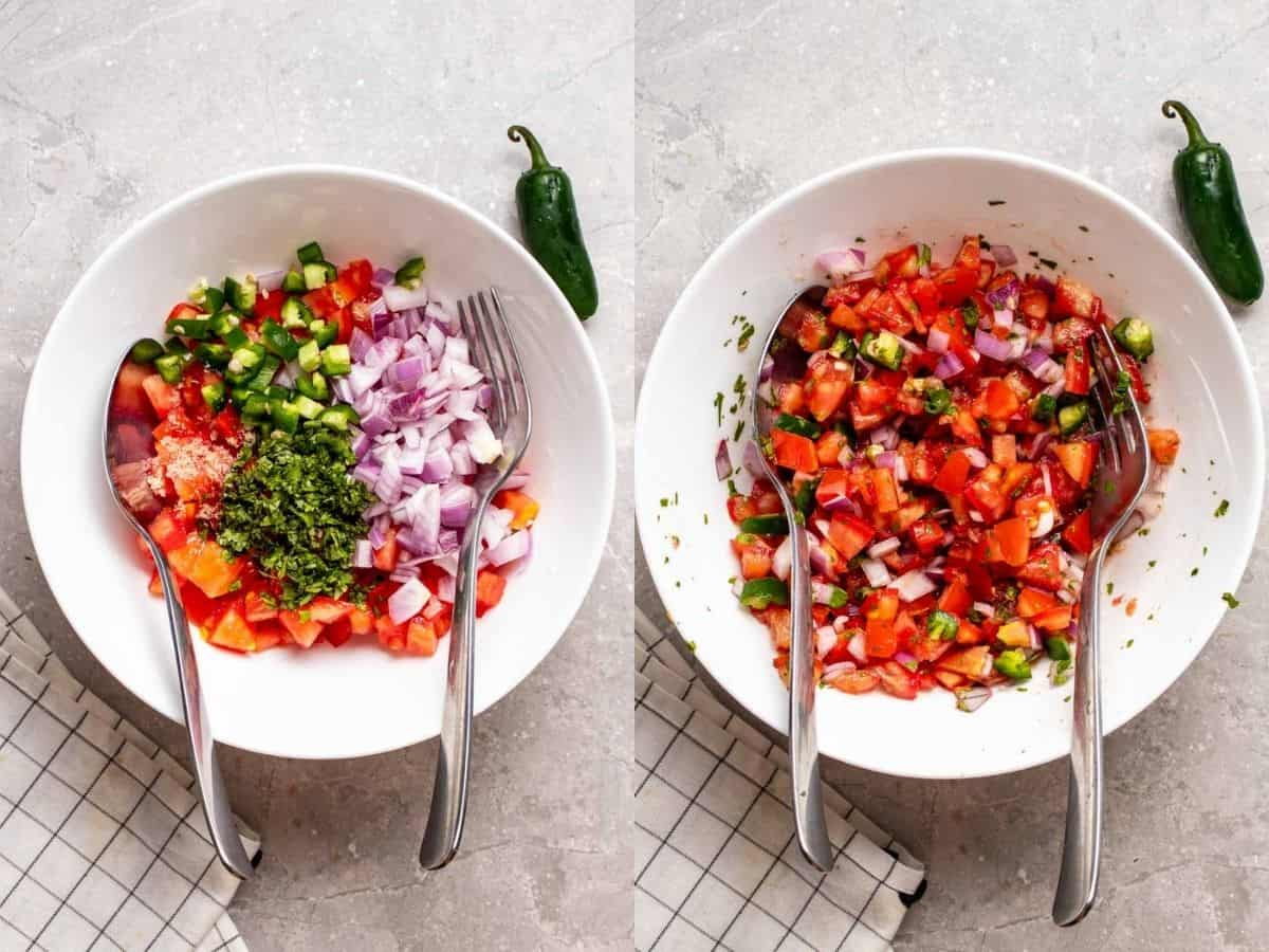 A 2 picture collage of before and after mixing all ingredients in a white bowl.