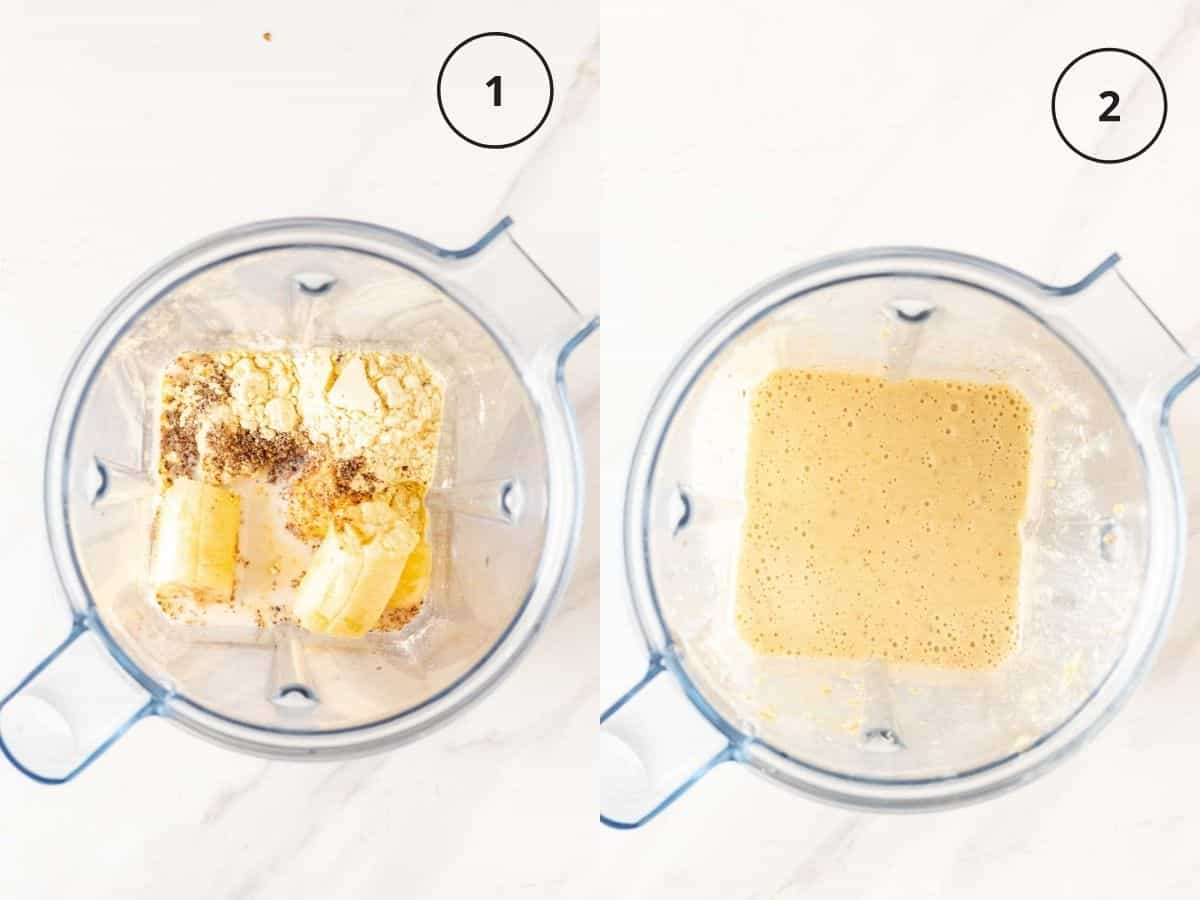 A collage of placing all ingredients in a blender than blending until smooth.