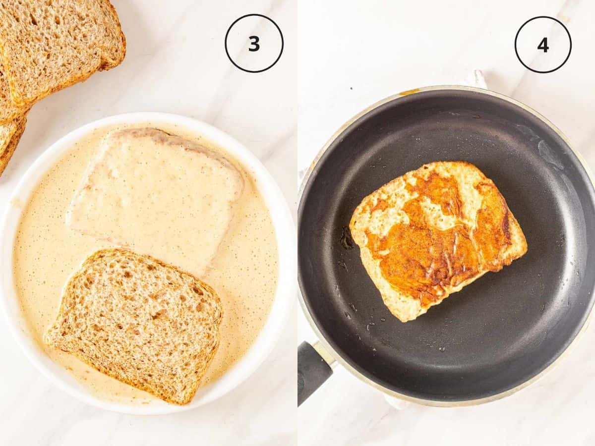 A collage of dipping bread slices in the batter in a white plate, then cooking a French toast on a non-stick pan.