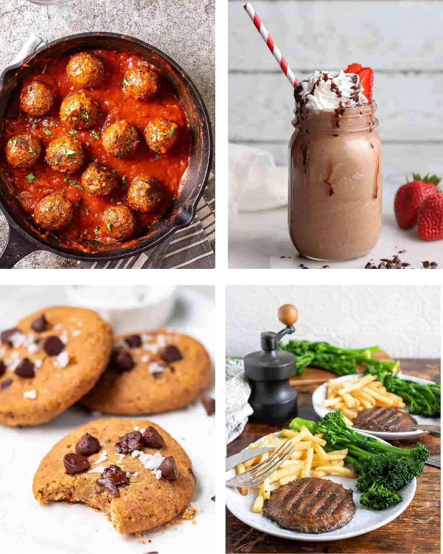 A 4 picture collage of meatballs in pan, chocolate milkshake in mason jar, chickpea cookies and mushroom steak on white plate.