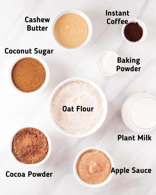 Ingredients needed to make brownies.