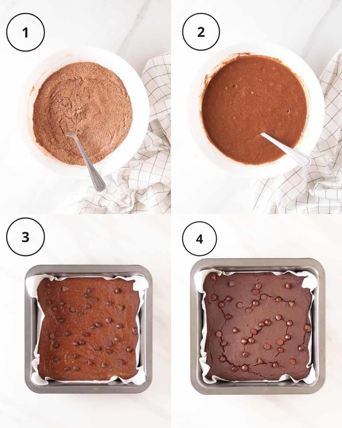 A 4 picture collage of process of making brownies, which shows mixing dry ingredients, adding in wet ingredients, batter in a square tray and brownies in tray after baking.