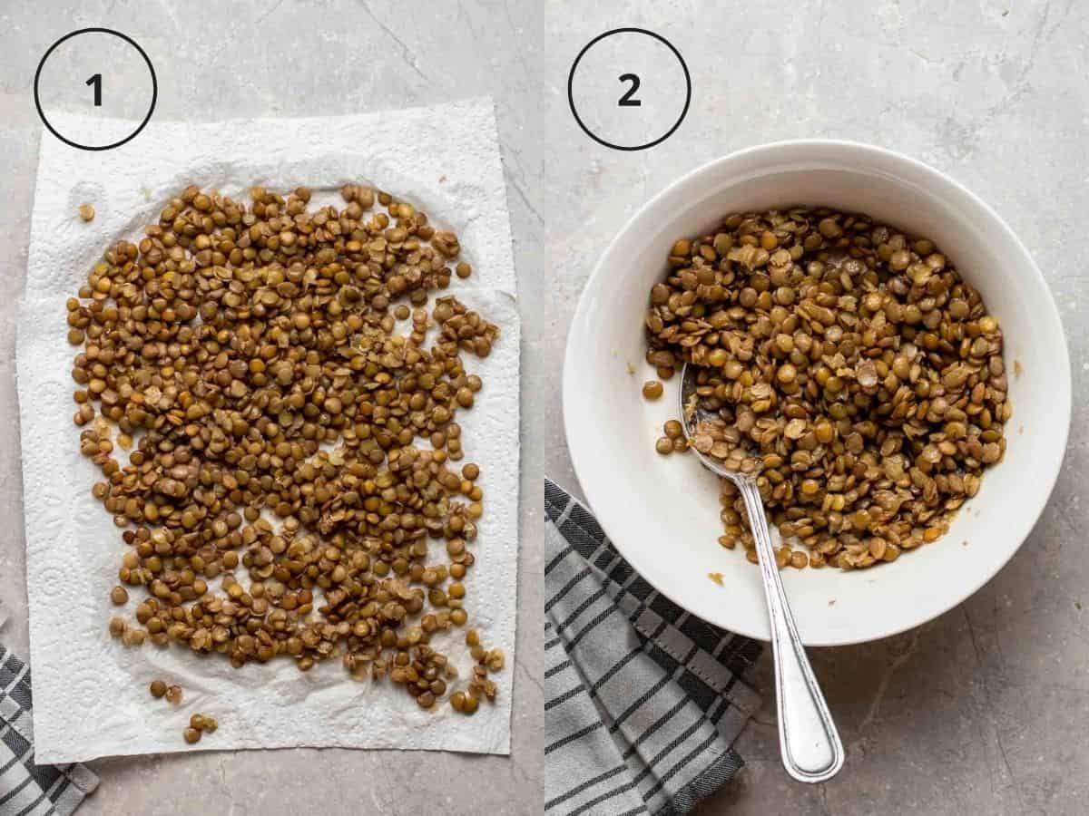 A 2 picture collage of lentils on a paper towel and lentils with seasonings in a white bowl.