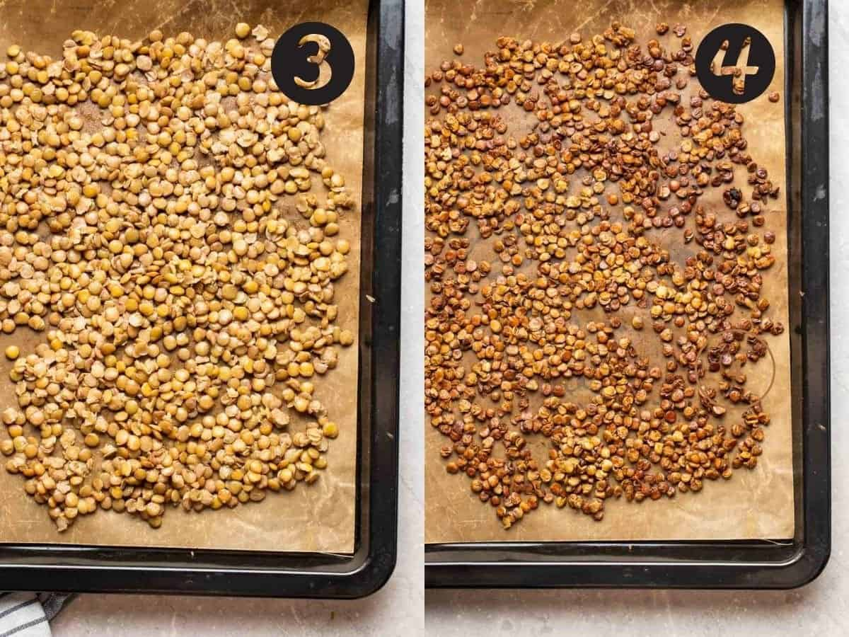 A 2 picture collage of before and after roasting lentils in a baking tray lined with parchment paper.