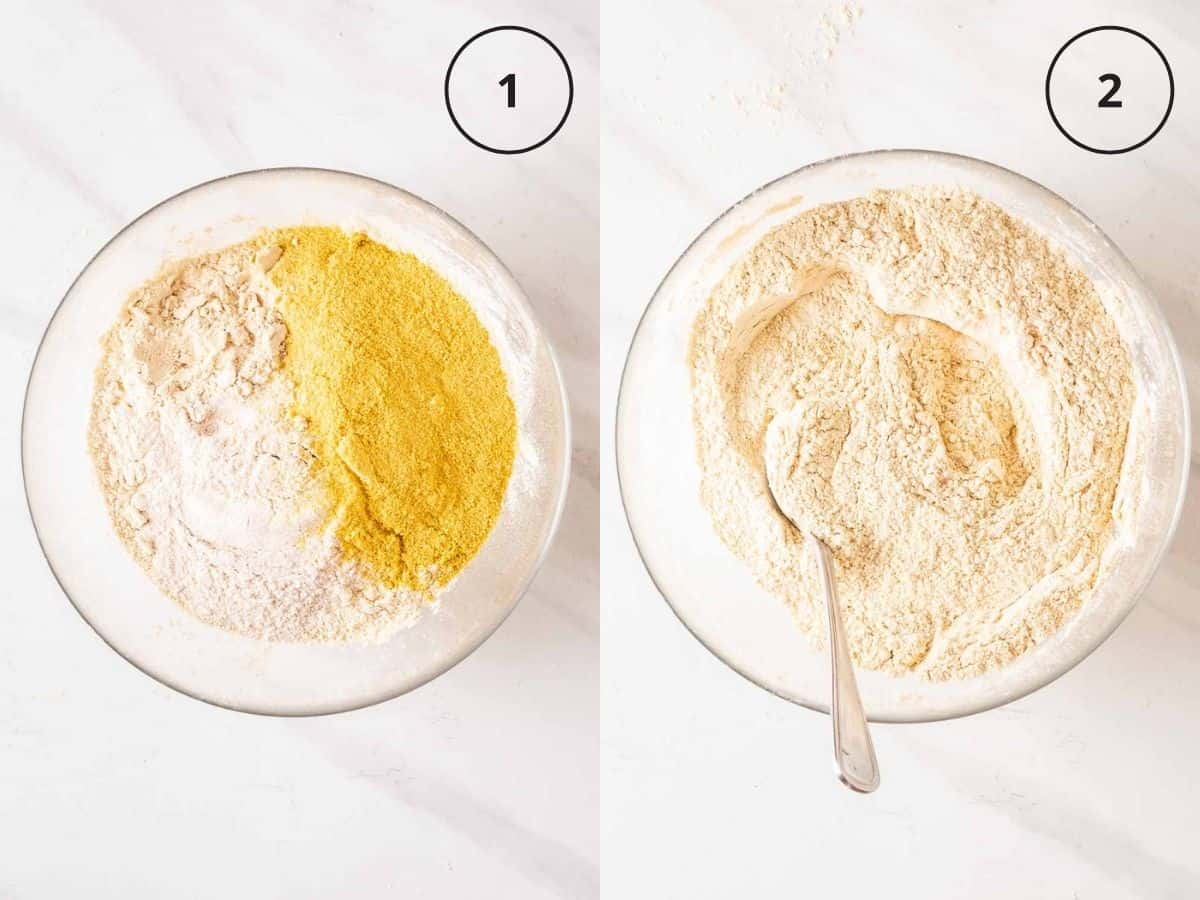 A 2 picture collage showing mixing dry ingredients in a glass bowl.