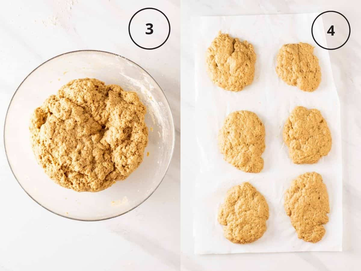 A 2 picture collage of first showing seitan dough in a glass bowl, then showing shaped seitan dough on a parchment paper.