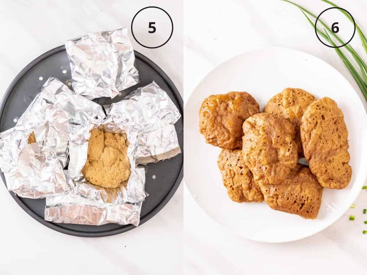 A 2 picture collage of first showing uncooked seitan tenders wrapped in aluminum foil, then showing steamed seitan chicken pieces on a white plate.