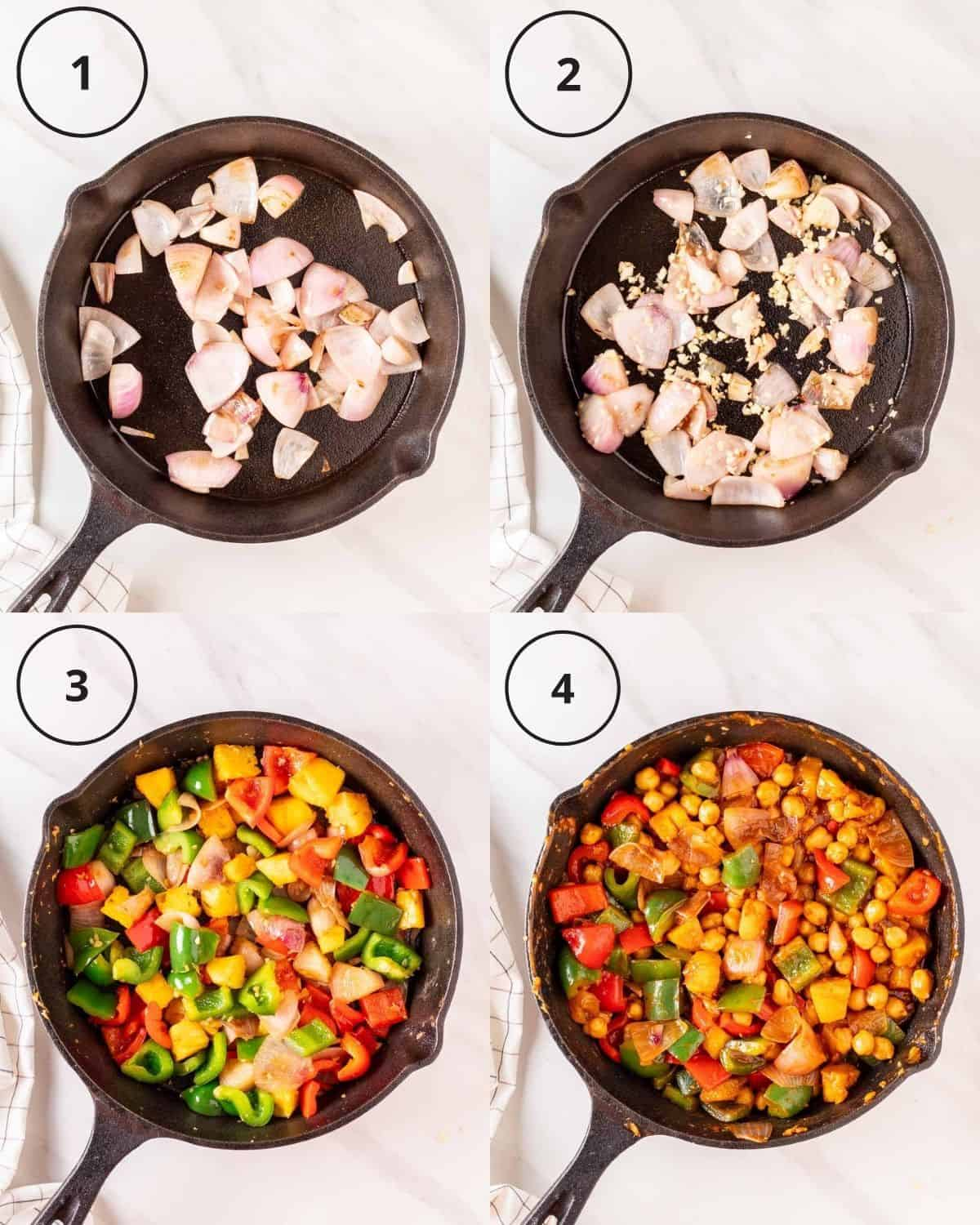 A 4 picture collage of cooking sweet and sour chickpeas.