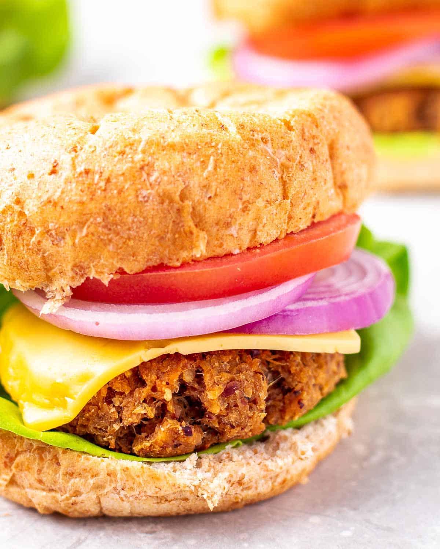 A vegan chicken burger on grey background.