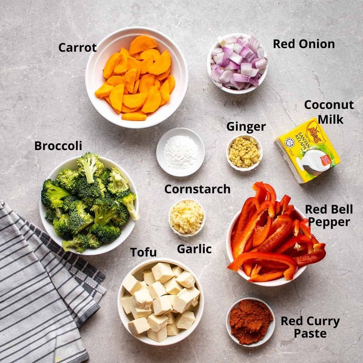 Ingredients needed to make curry.