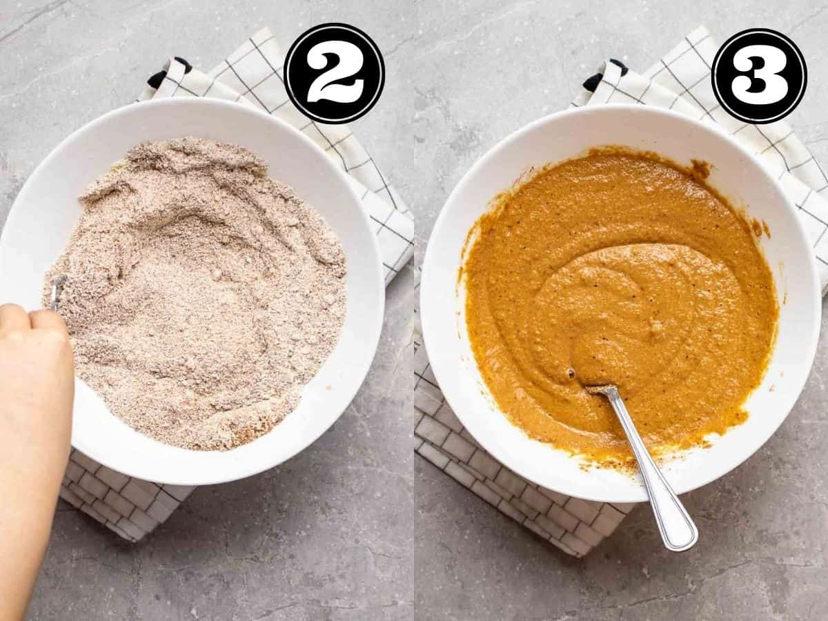 Collage showing mixing dry ingredients then adding in milk and applesauce in a white bowl with fork.
