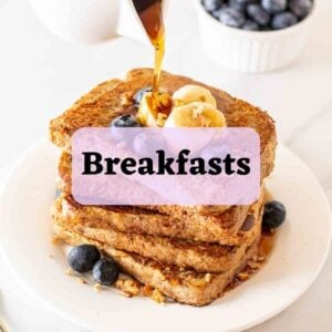 Pouring maple syrup on a stack of French toast with text overlay.