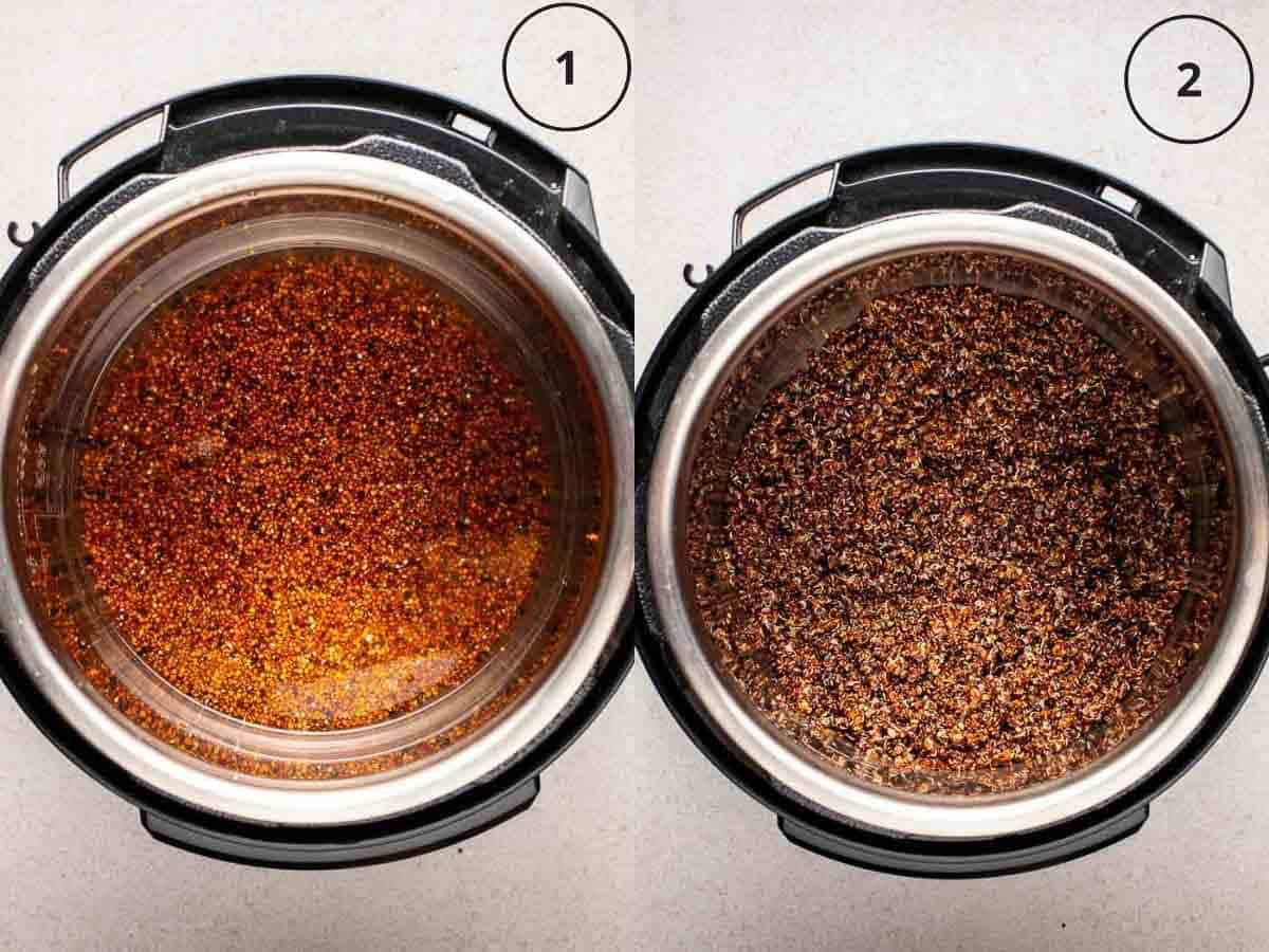 Collage showing before and after cooking quinoa in Instant Pot.