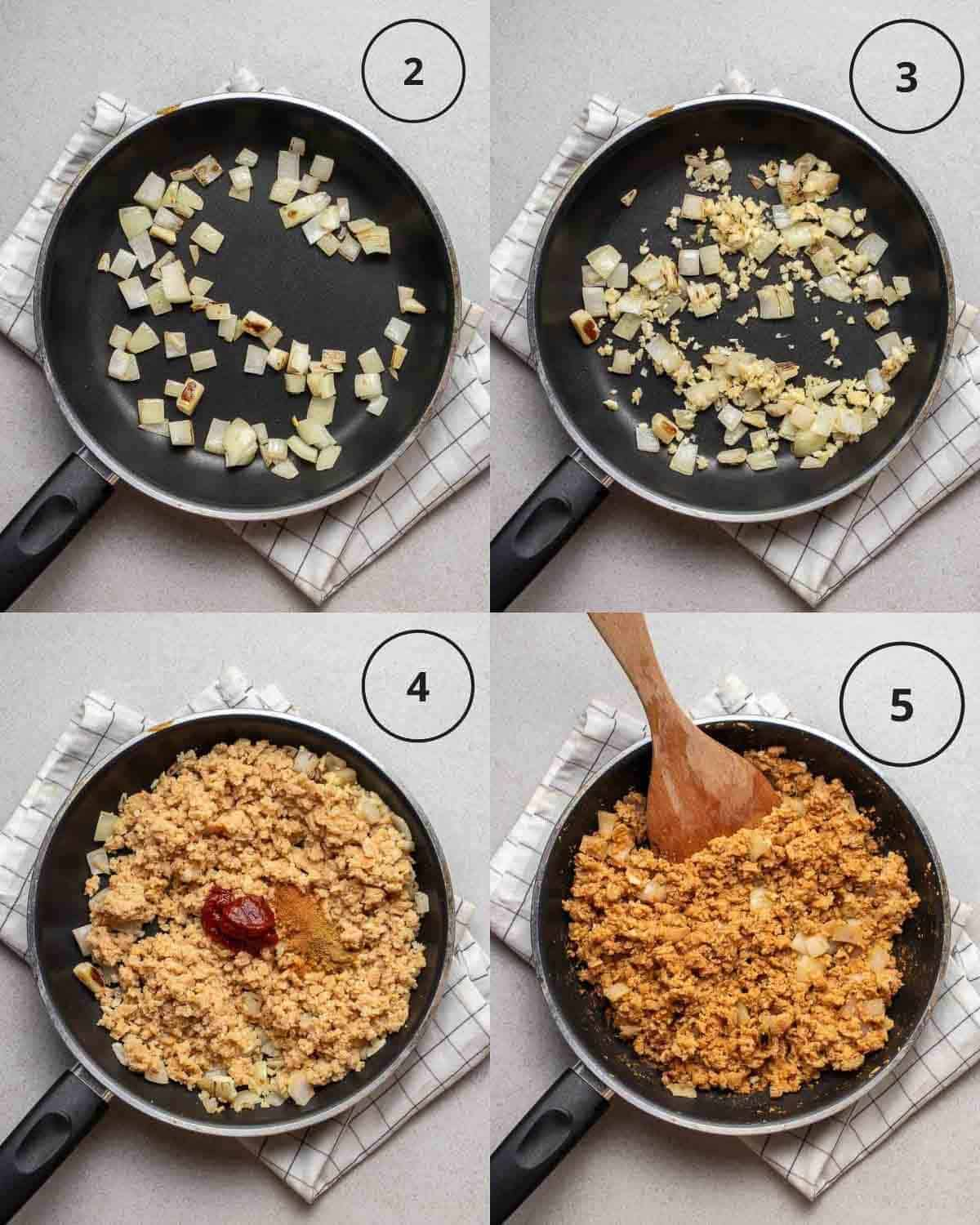 A collage showing sauteing onion, adding garlic and adding TVP and spices in a pan.