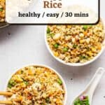 2 bowl of fried rice with skillet and chopped scallions with text overlay.