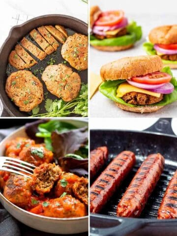 Collage of seitan chicken in pan, 3 burgers, fork holding a meatball and sausages in a grill pan.