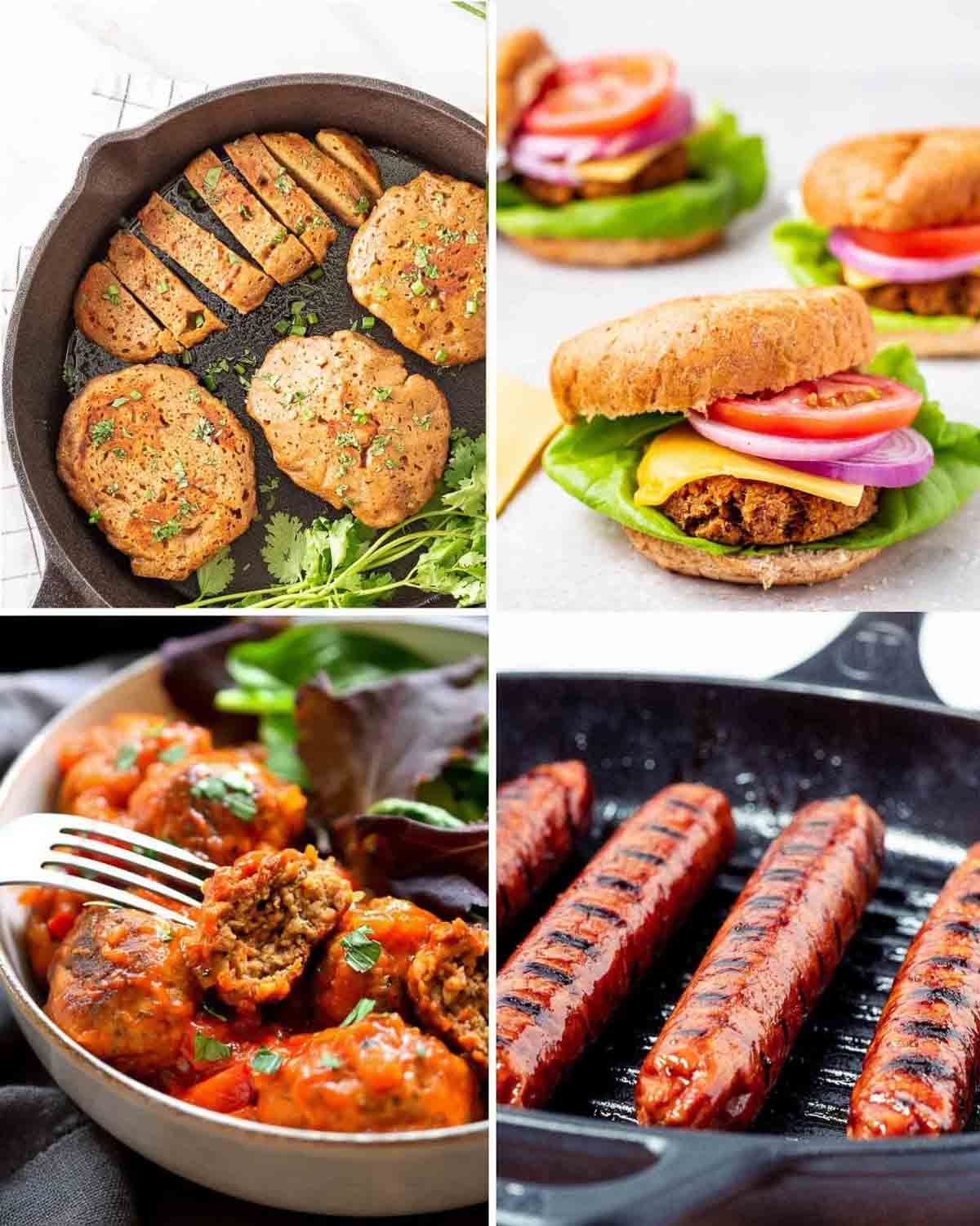 A collage of seitan chicken in pan, 3 burgers, fork holding a meatball and sausages in griddle.