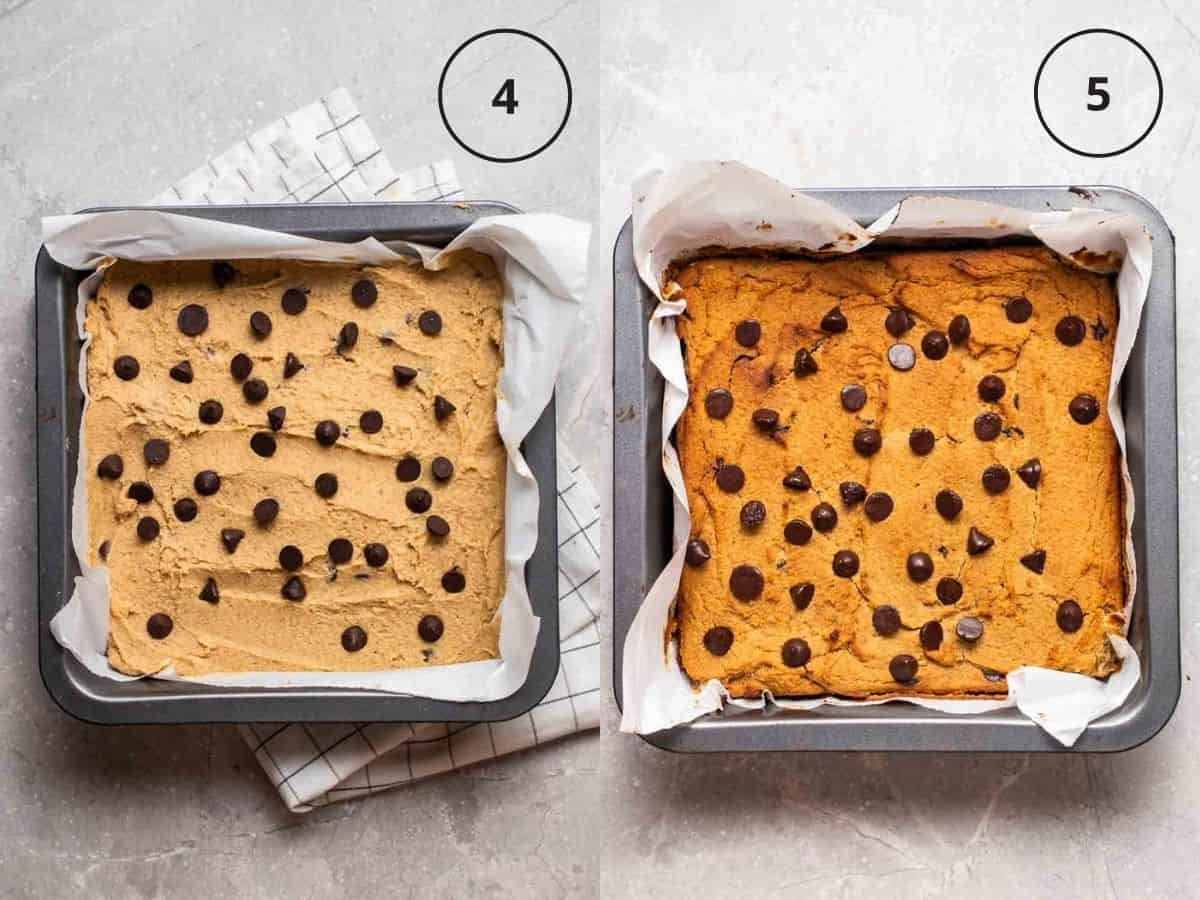 A collage showing before and after baking blondies in a baking pan.