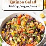 A bowl of quinoa salad topped with chopped cilantro with a fork beside.