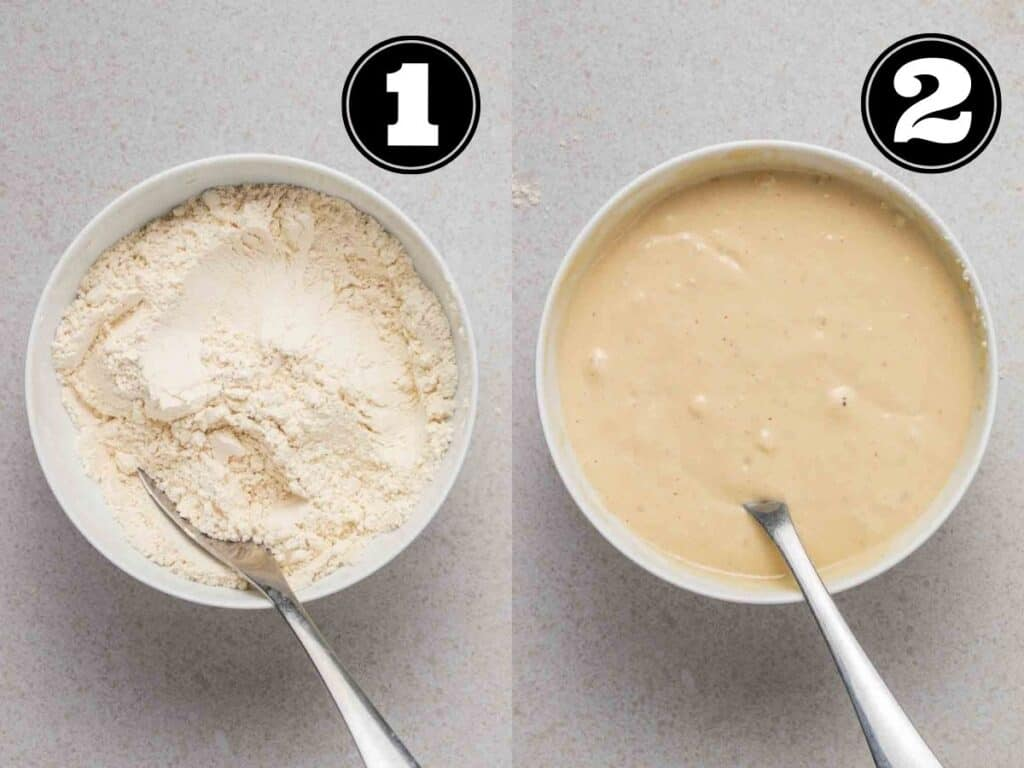 Collage showing mixing dry ingredients then adding in wet ingredients in white bowl with a spoon.