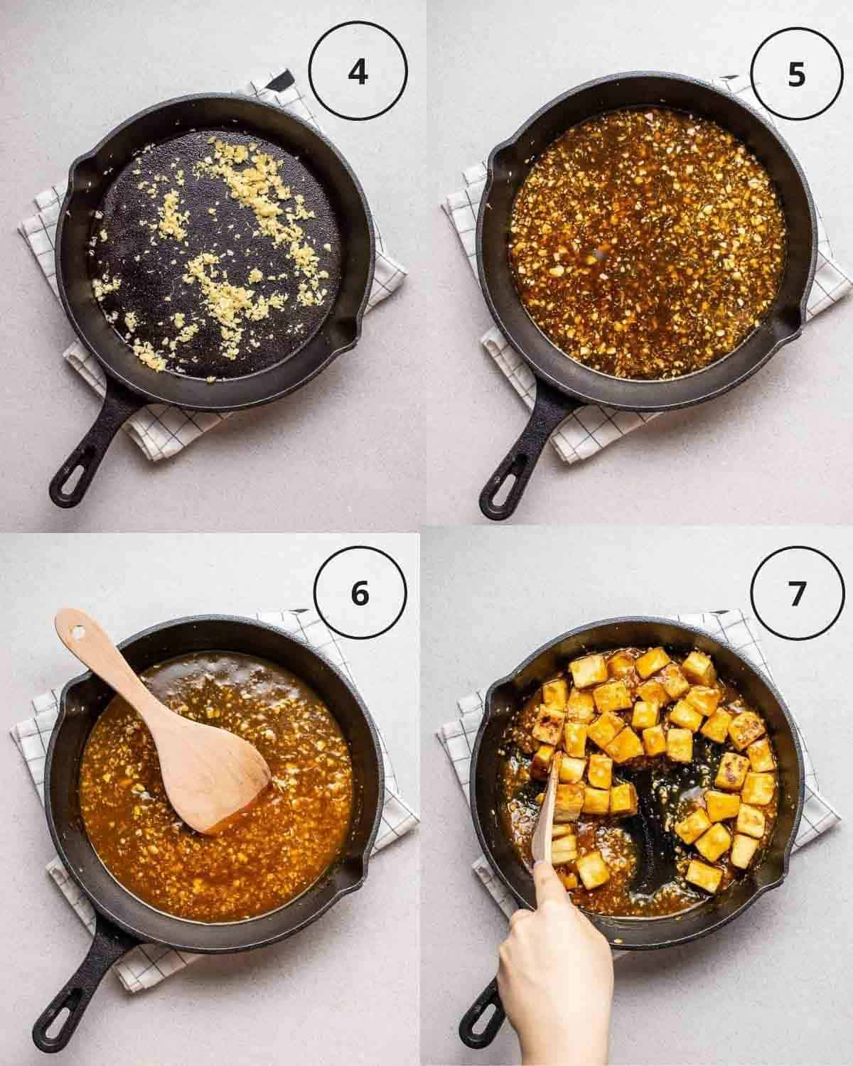 Collage showing sauteing aromatics, adding in ingredients for sauce, cooking until sauce thickens and stirring in tofu.