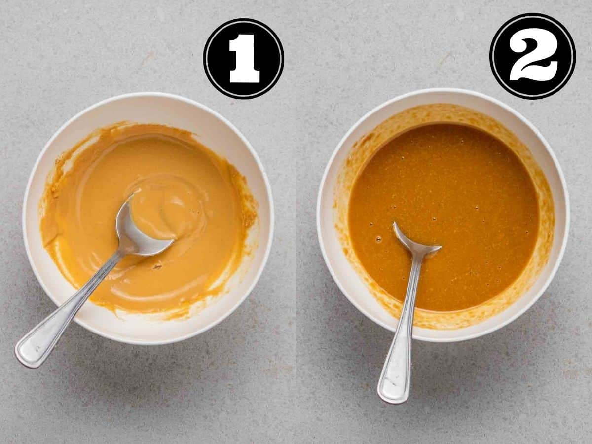 Collage showing rehydrated PB2 then mixing all wet ingredients in a white bowl with spoon.