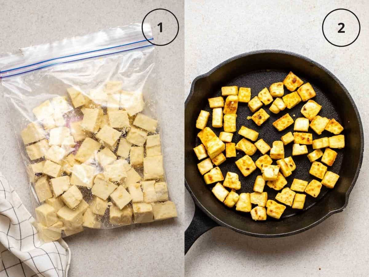 Collage showing tofu cubes in zip-top bag and cooking tofu in cast iron pan.