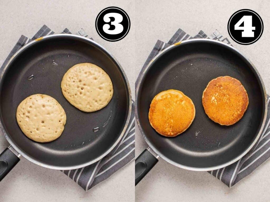 Collage showing cooking 2 pancakes on a black pan.